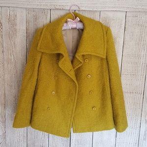 J. Crew Size 0 Mohair Lucille Pea Green Pea Coat